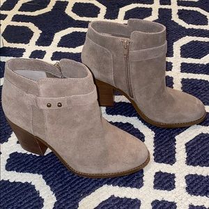 Sole Society Lyric Taupe Suede Heeled Booties 7
